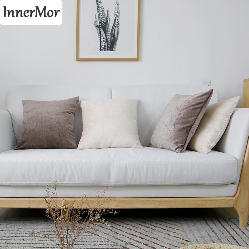 Innermor Simple solid Cushion Cover soft Chenille <font><b>Pillow</b></font> <font><b>Case</b></font> Home modern decorative For sofa bed car seat45x45 <font><b>50x50</b></font> ready made image