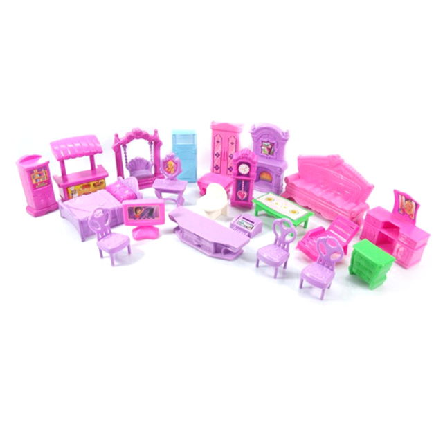 1Set 3D Dolls House Set Baby Kids Pretend Play Toys Christmas Gift Plastic Furniture Miniature Rooms Doll