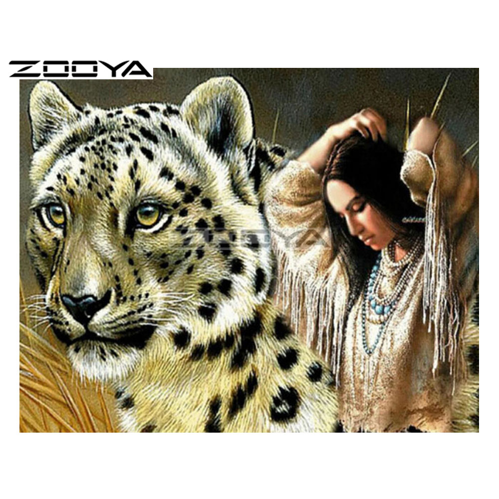 ZOOYA 5D DIY Diamond Beauty Leopard Character Diamond Painting Cross Stitch Square Drill Mosaic Decoration BK1056