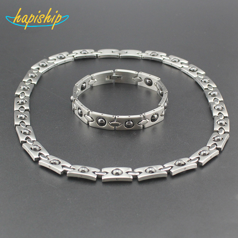 Hapiship 2017 New Men/Women's Energy 316L Stainless Steel Therapy Necklace/Bracelet Birthday Gift TG23 9 Drop Shipping