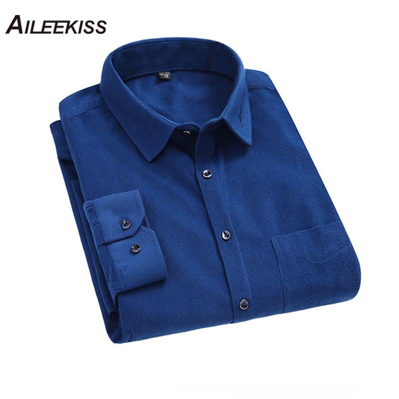 AILEEKISS Men Long Sleeves Corduroy Shirt Casual Mens 2019 Fashion Solid Color Male Slim Fit Soft Comfortable XT754