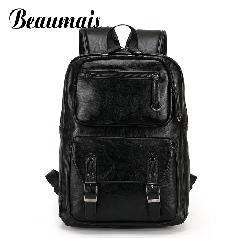 Beaumais Genuine Leather Backpack School Bags For Teenager College Men Travel Mochila Backpacks Rucksack Shoulder Bags DB6090 2016new rucksack luxury backpack youth school bags for girls genuine leather black shoulder backpacks women bag mochila feminina