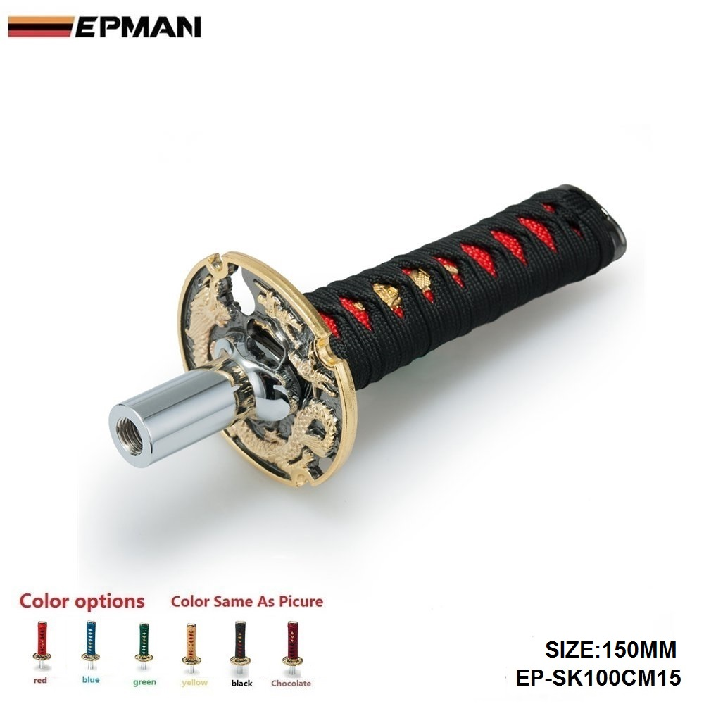 Jdm curto samurai espada shift knob shifter 150mm metal ponderada esporte katana shift knob para audi a4 b6 1.8 t EP-SK100CM15