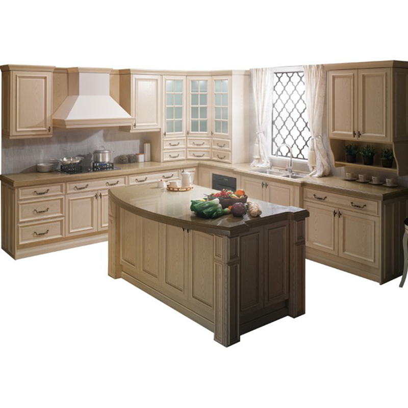 Cheap Prices Curved Kitchen Cabinets Island For Sale With Quartz