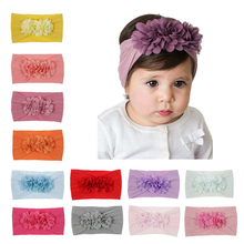 Yundfly Chic Baby Chiffon Flower Headband Elastic Wide Nylon Floral Headwear Girls Hairband Hair Accessories
