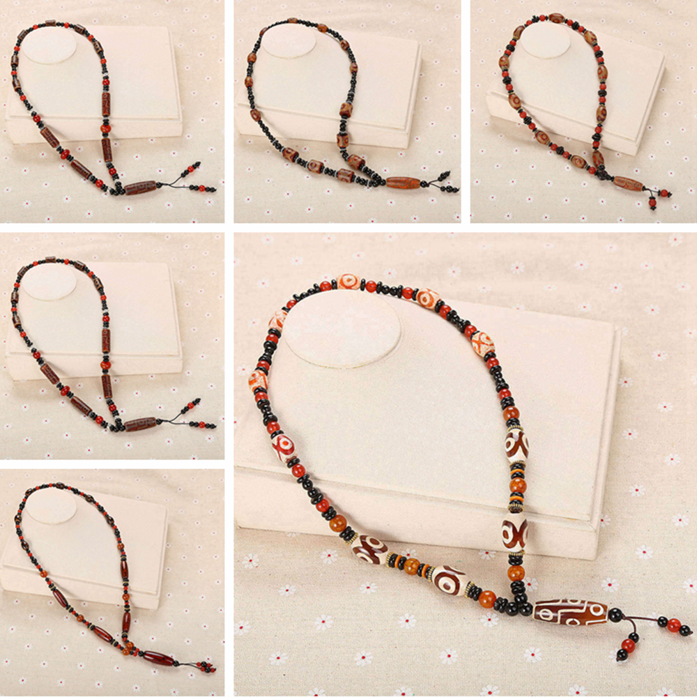 3A Original Tibet Dzi Bead Necklace Ethnic Statement Necklace Women Long Chains Agate Jewelry Amber reiki Geometric Chain Choker