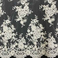 Vintage traditional wedding gown lace fabric material with scallop trimming Heavy beaded ivory tulle lace with beads and sequins
