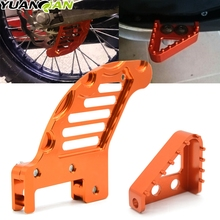 Set CNC Rear Brake Disc Guard Protector Cover+Pedal Step Tips & Gear Shifter Lever Tip For KTM 125 144 150 200 250 300 450 EXC