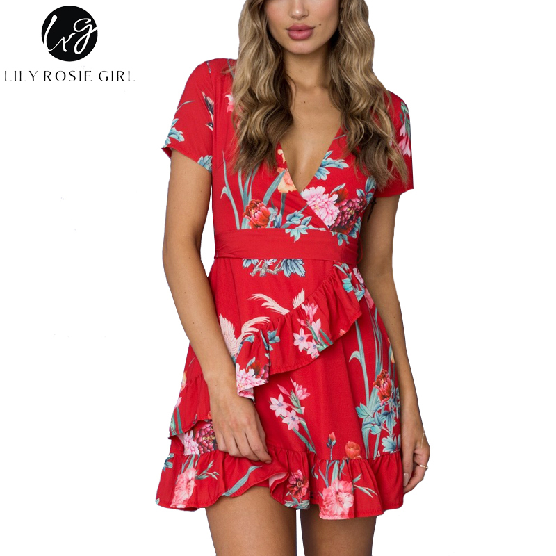 Lily Rosie Girl Ruffles Red Sexy V Neck Women Short Dress 2018 Summer Beach Party Short Sleeve Boho Floral Print Vestido Dresses