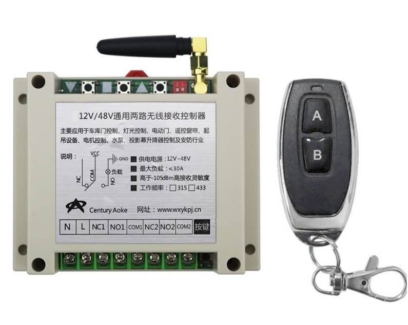 New DC12-48V 2CH RF Wireless Remote Control Switch System library door control 1pc (JRL-11) transmitter 1 receiver Learning code rf wireless remote control system wireless switch 2 transmitter remote control