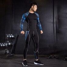 男性の圧縮スポーツスーツジム筋肉トレーニング長袖tシャツレギンス男性ベース重層熱uderwearジョギングスーツ 4XL