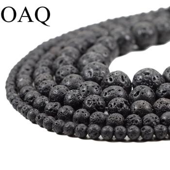 DIY Black Volcanic Lava Beads Lava Stone Beads Round volcanic-stone Shape Natural Stone Beads for Jewelry Making 4-14mm