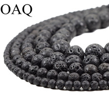 DIY Black Volcanic Lava Beads Lava Stone Beads Round Volcanic-Stone Wholesale Natural Stone Beads for Jewelry Making 4-14mm(China)