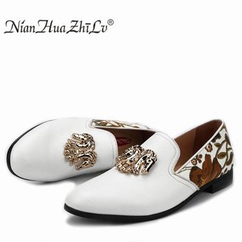 NIAN HUA ZHI LV Fashion Print White Men Loafers Men's Leather Casual Dress Party Original Design Men Shoes