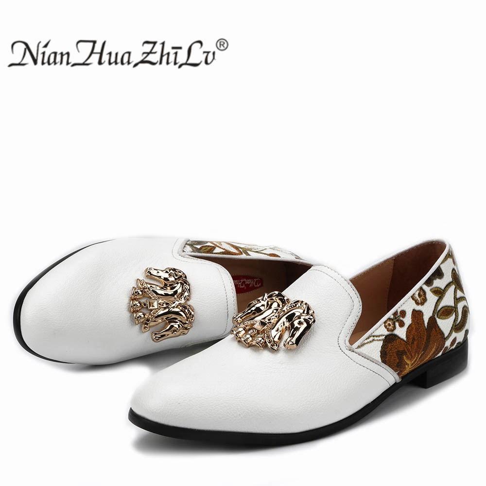 Ayakk.'ten Erkek Rahat Ayakkabılar'de NIAN HUA ZHI LV moda baskı beyaz erkek mokasen ayakkabıları erkek deri rahat elbise parti orijinal tasarım erkek ayakkabısı'da  Grup 1