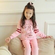 Pajamas Girl Kids Winter Warm Flannel Long Sleeves Sleepwear Anime children Sleep lounge Pajama Set