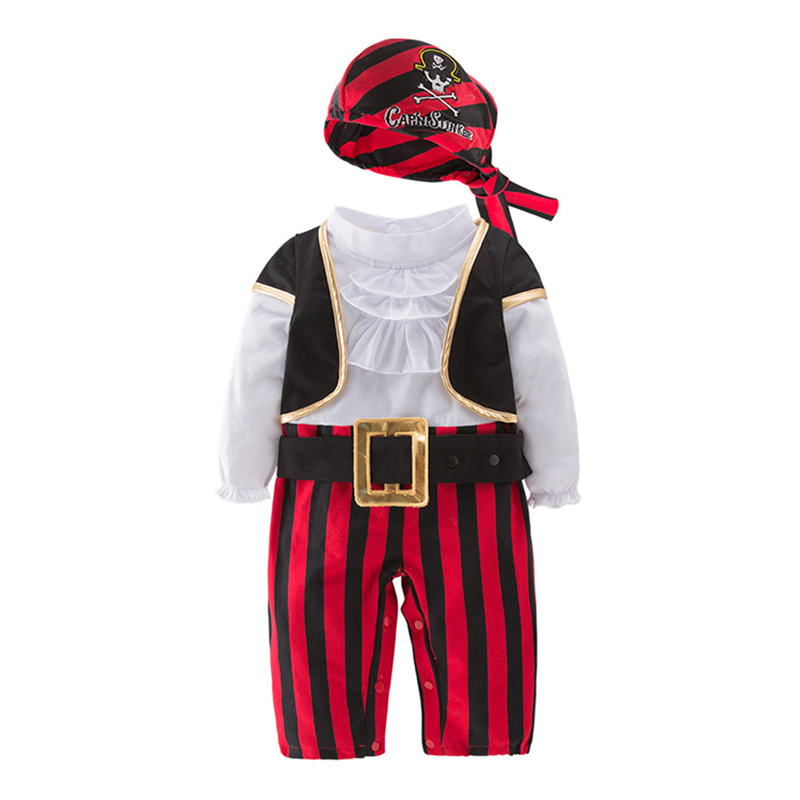 2018 Baby Boys Halloween Clothes New Baby Pirate Captain Boy Set Children's Costume Dance Cosplay Young Kids Cotton Romper 4Suit cosplay v chest pirate costume w turban eyeshade black