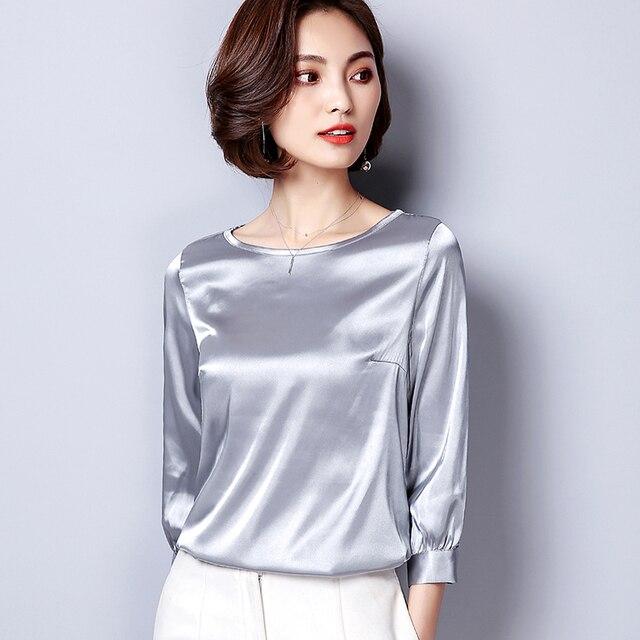 effa051a03 Mulheres Básicas Camisa De Cetim 2018 Primavera Verão Nova Moda Feminina  Quente Ocasional de Três Quartos
