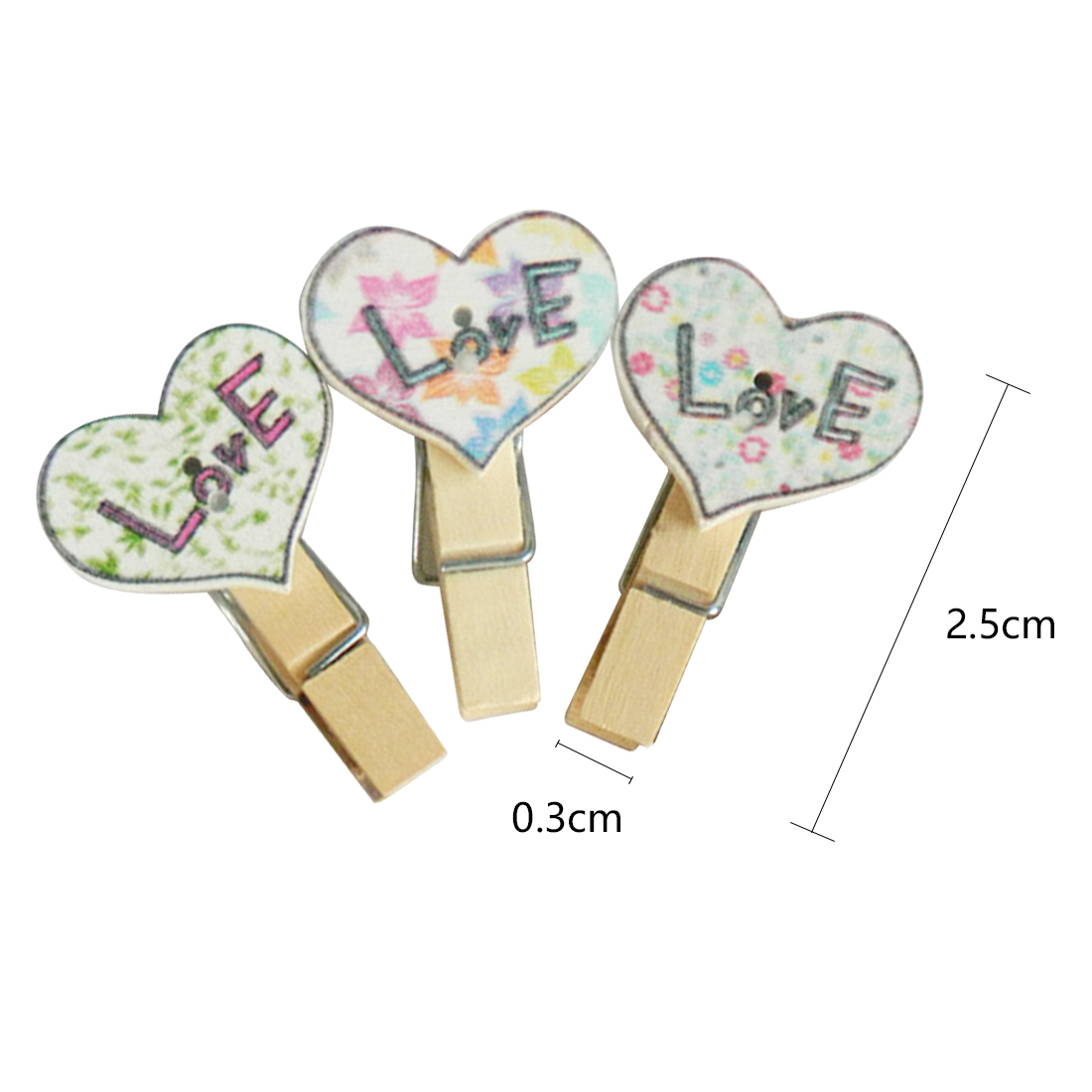 FangNymph 10Pcs/Pack Colorful Mini Printing Love Wooden Clothes Paper Photo Clips Craft Postcard Gift Clips