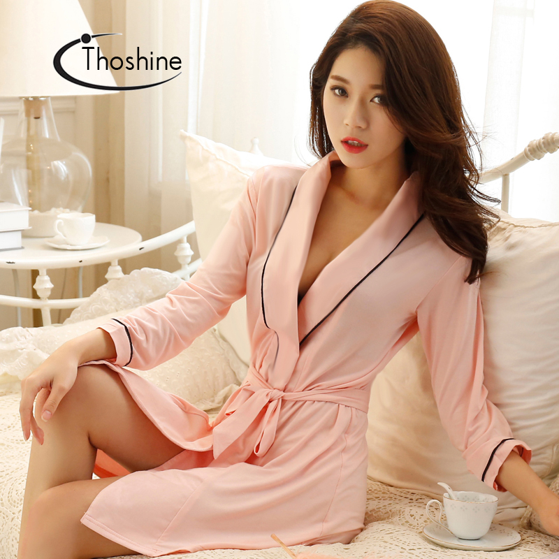 Image 4 - Thoshine 2019 Spring Summer Autumn Women Chinese Silk Satin Robes Female Superior Bath Robes Lady Nightshirt Girl Home Sleepwear-in Robes from Underwear & Sleepwears