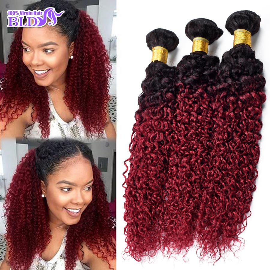 3 Bundles Brazilian Curly Weave Ombre Two Tone Black