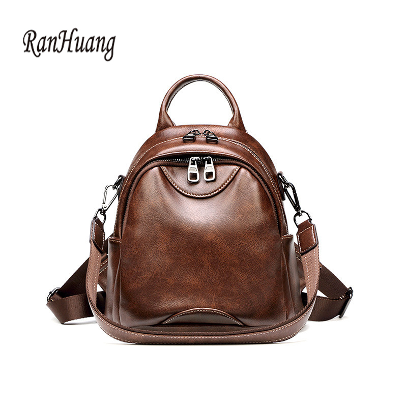 RanHuang Women Soft Leather Backpack High Quality Small Backpack School Shoulder Bags For Teenage Girls Vintage Rucksacks A1425