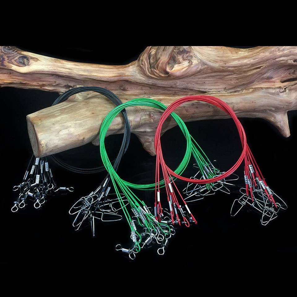 WALK FISH 10 pcs / lot 50 cm fishing line wire steel leader with Swivel Fishing Accessory 3 colors Olta leadcore leash