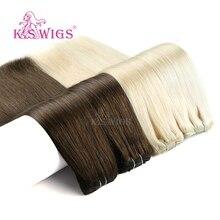 K.S парики прямые Remy натуральные человеческие трессы с полной головкой клип в человеческих волос для наращивания 7 шт./компл. 16 клипов 24 ''140 г