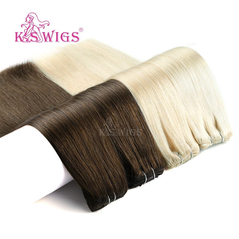 K.S WIGS Straight Remy Natural Human Hair Double Drawn Full Head Clip In Human Hair Extensions 7 Pcs/set 16 Clips 24'' 140g