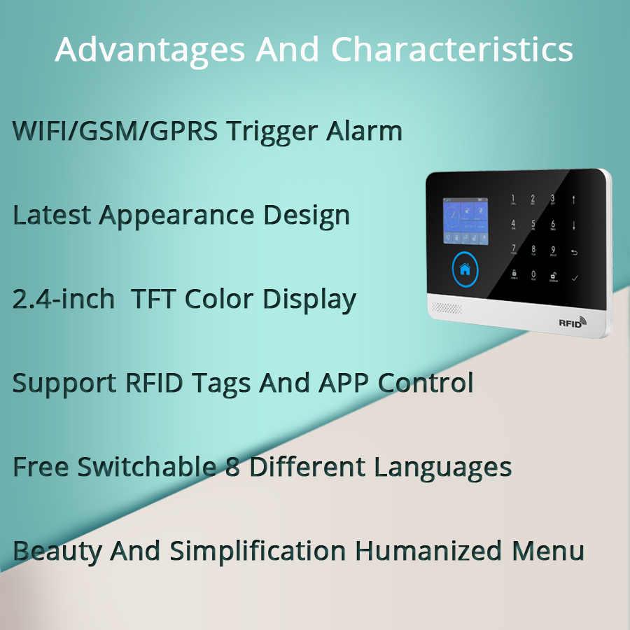 Sans fil SIM GSM maison RFID cambrioleur sécurité LCD clavier tactile WIFI GSM système d'alarme kit de capteur anglais, russe, espagnol voix