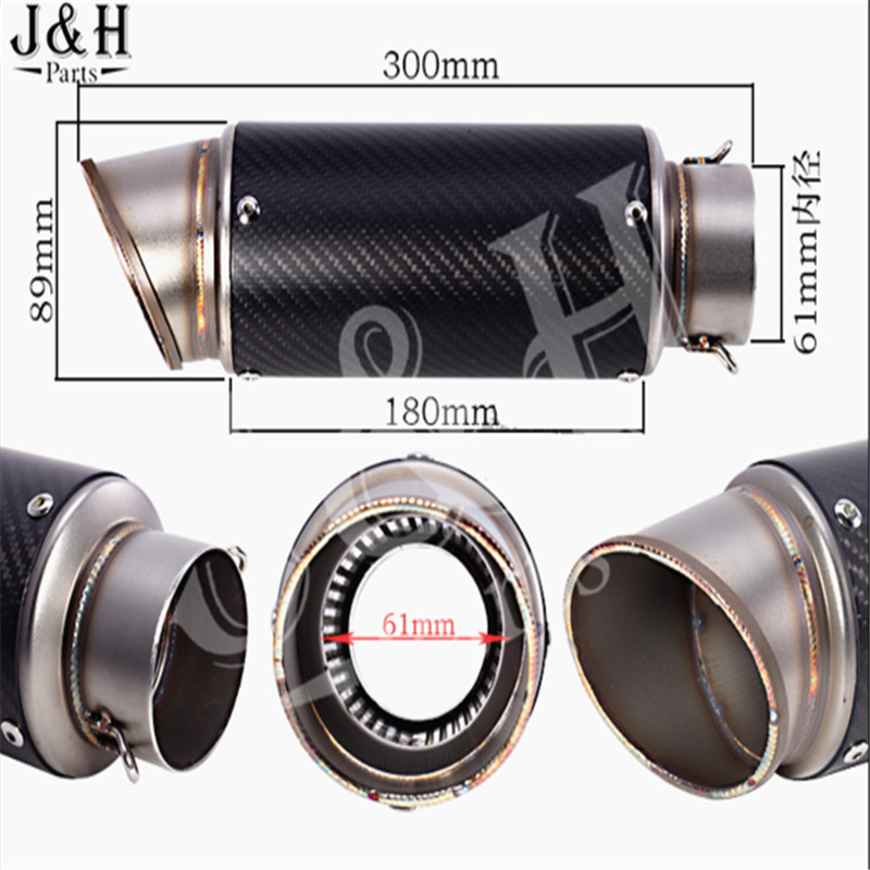 Universal modified 61mm motorcycle modified muffler exhaust pipe carbon fiber exhaust large displacement motorcycle performance exhaust pipe cnc carbon fiber oval tube large displacement car brothers exhaust pipe id 51mm