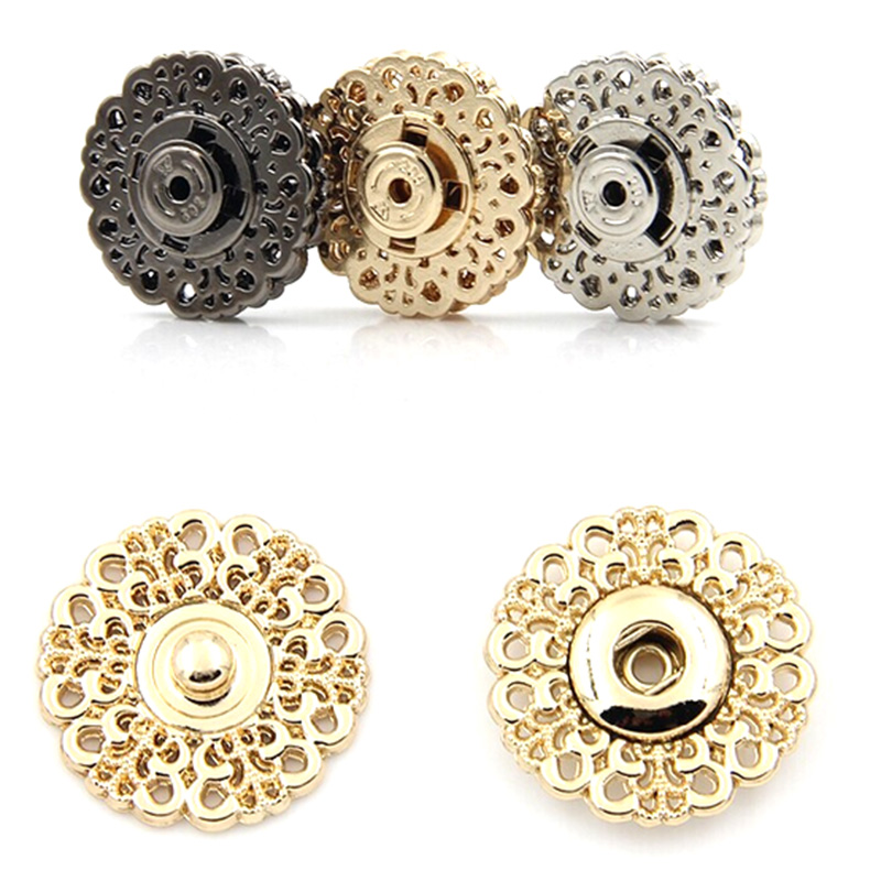 10set 15mm 18mm 21mm 25mm Metal Snap Fasteners Clasps Button For Handbag Purse Wallet Craft Suit buckles Bags Parts Accessories