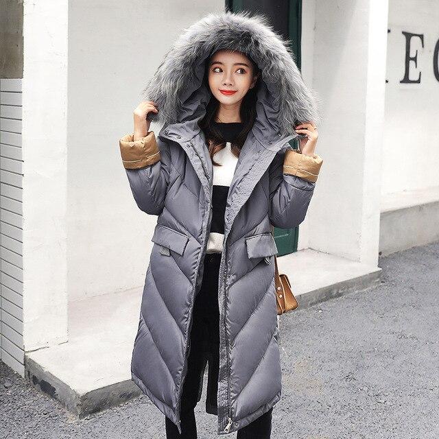 Winter Hooded Parkas Womens Thickening Outerwear Slim Down Cotton Coat Female 2018 New Long Fur Collar Winter Jacket Women