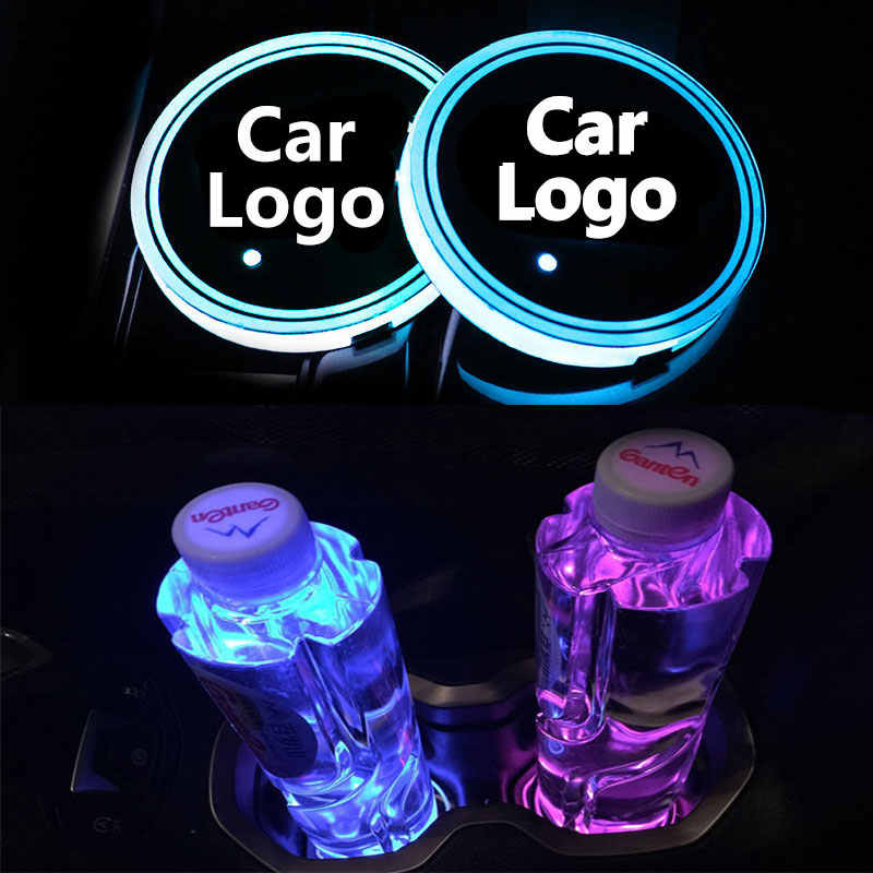 2X โลโก้รถ LED Cup ผู้ถือเครื่องดื่ม Anti Slip สติกเกอร์สำหรับ Dodge Skoda Subaru Suzuki Toyota ที่นั่ง Renault opel อุปกรณ์เสริม