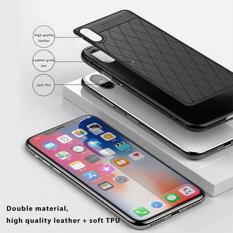 Leather Skin + Soft TPU Case For iPhone XS MAX XR X 8 7 6 6s Plus Silicone Coque Ultra Thin Luxury anti-fall For iPhone XS Shell