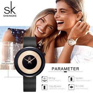 Image 5 - Женские наручные часы Shengke, женские модные часы с металлической сеткой, Винтажный дизайн, женские часы, роскошный бренд, Классические наручные часы