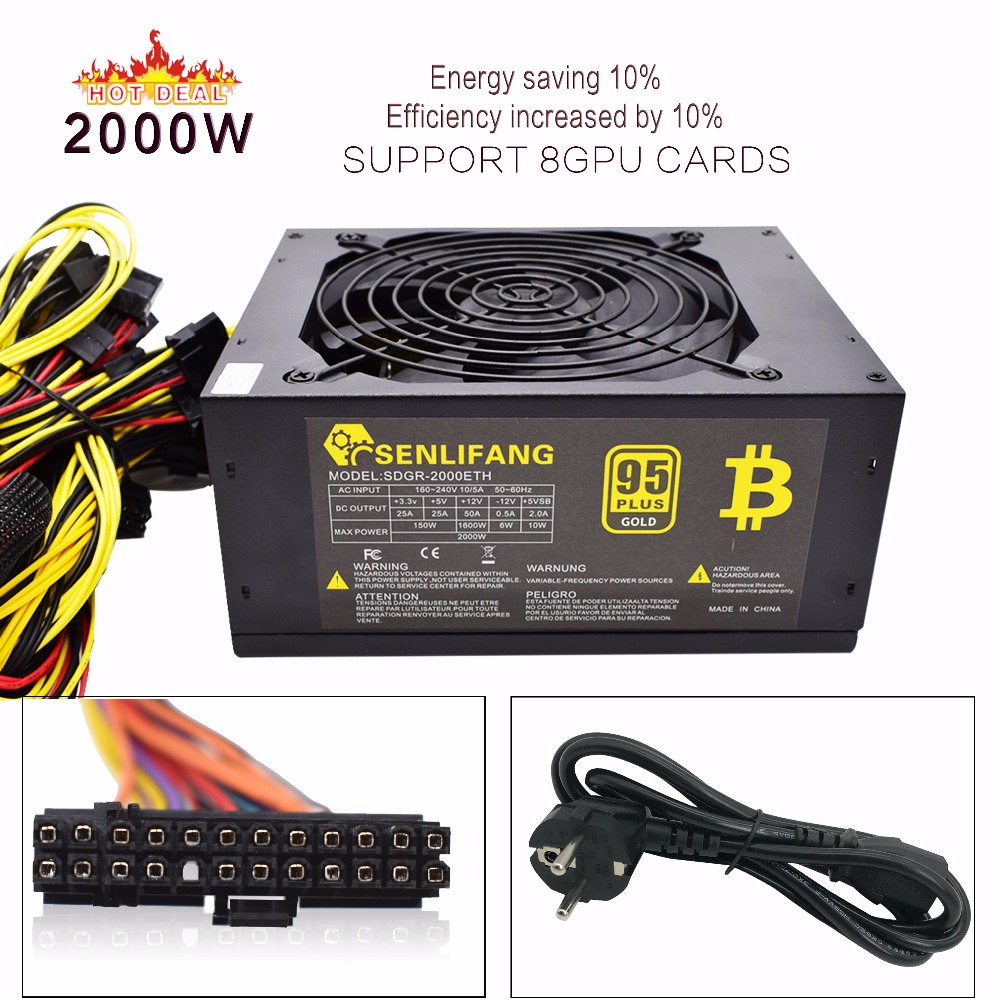 Asic bitcoin Gold power 2000W PLUS BTC power supply ATX Mining Machine supports 8 GPU cards support free shipping