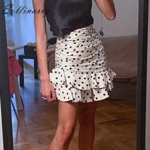 Image 3 - Sollinarry, узор в горошек, Элегантные короткие женские юбки, высокая талия, Модные осенние юбки с оборками, Дамская зимняя облегающая юбка в стиле ретро