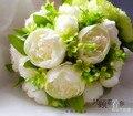 2017 dama de Honor Nupcial de La Boda Bouquet Barato New Romantic Marfil Hecho A Mano Rosa Artificial Flores de La Boda Ramos de Novia