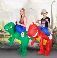 New 2016 Inflatable Dinosaur Costume Fan Kids Adult Party Halloween Cosplay Animal Dino Rider T Rex