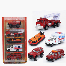 купить 5pcs fire truck toy car ambulance model toy in the car diecast models metal toys cars mini miniature metal cars boy toys kids дешево