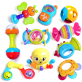 10 Pcs High Quality Colorful Baby Toy Rattles and Mobile Phone with Cute Cartoon Animal Newborn Baby Gift Early Educational Toys