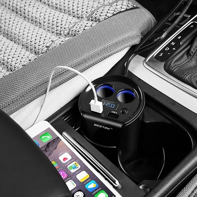 12-24V 3.1A Dual USB Car Charger Adaptor With Voltage Current Display Charger Car Cup Holder 2 Sockets Cigarette Lighter Adapter