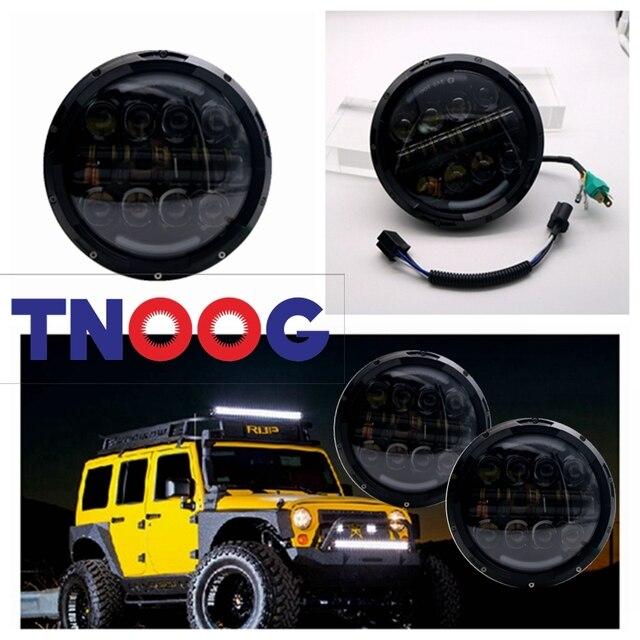 "TNOOG  7"" INCH 80W LED Headlight with angel eye amber turn signal Hi/Lo Beam DRL for Jeep Wrangler JK headlamp with DOT E9 mark"