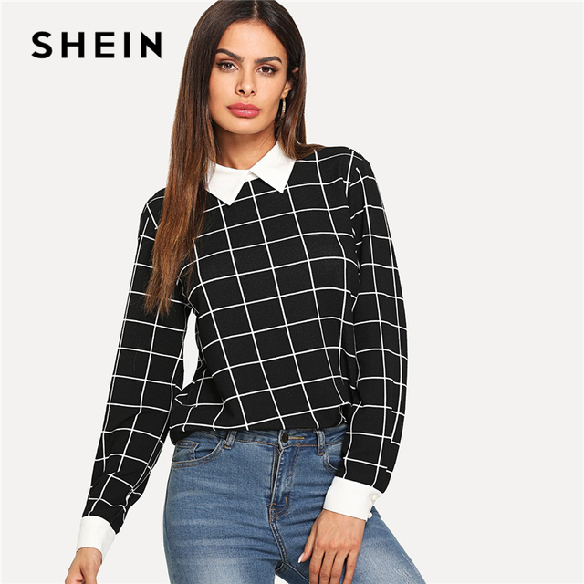 28e0f79756 SHEIN Black Elegant Modern Lady Office Lady Elegant Plaid Collar Pullovers  Top Autumn Weekend Casual Women Tops And Blouses