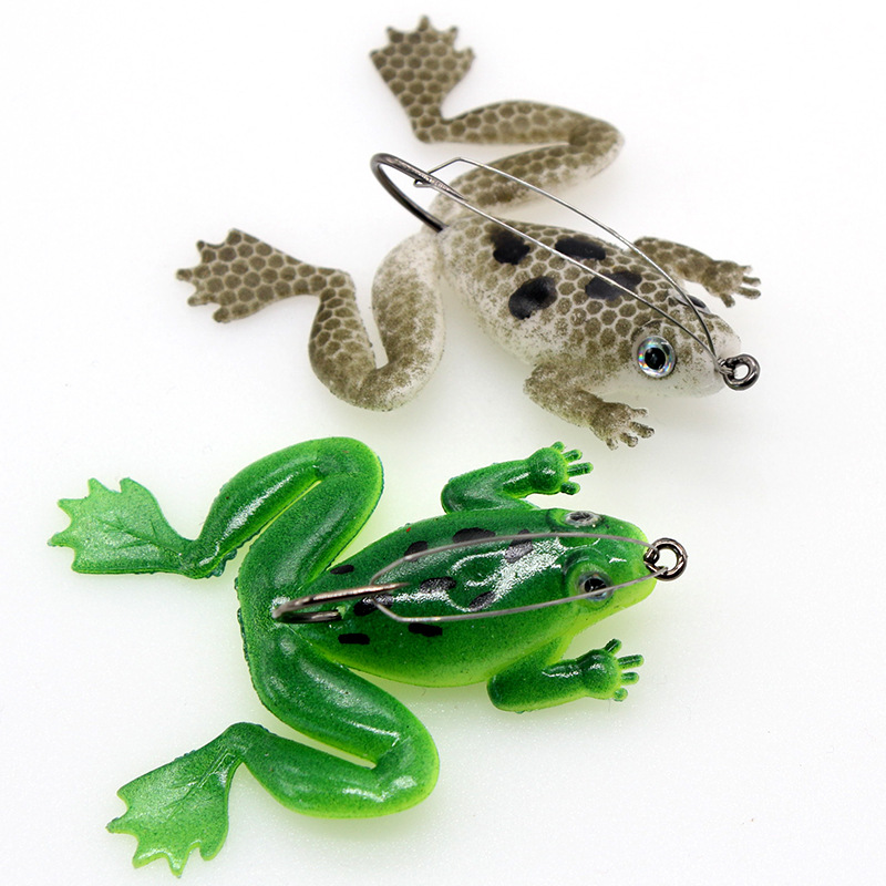 Thunder frog 5g 6cm Anti hanging bottom with hook soft frog Snakehead Fishing lure Swim Bait wobblers silicone fishing tackle-in Fishing Lures from Sports & Entertainment