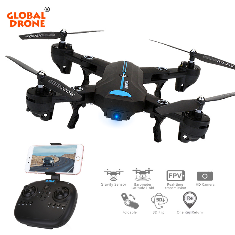Global Drone A6W WIFI FFV Selfie Drone Foldable Quadcopter with Wide Angle HD Camera RC Quadrocopter VS VISUO XS809HW E58 JY018