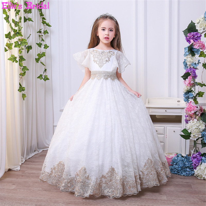 Children Flower Girl Dresses White Lace Embroidery Kids Party Wedding Pageant Ball Gowns for Girls First Communion Dress Custom