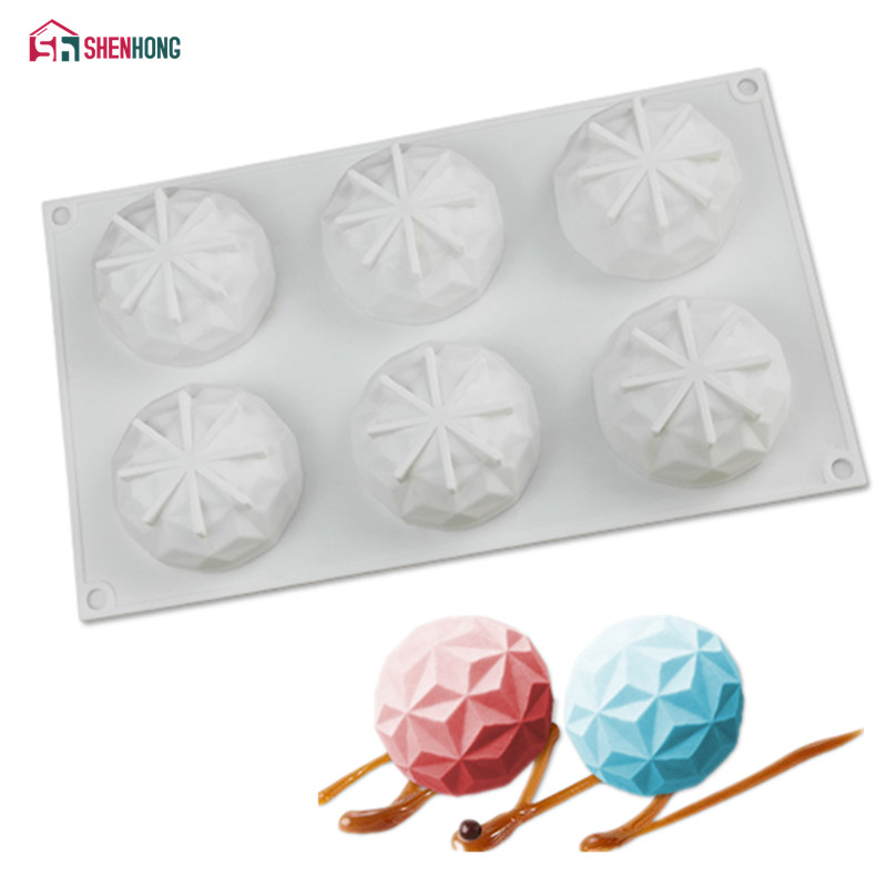 SHENHONG 6 Holes Diamond Silicone Cake Chocolate Molds For Baking Dessert Ice Mould Moule Mousse DIY Pastry Decorating Tools|Cake Molds| |  - title=