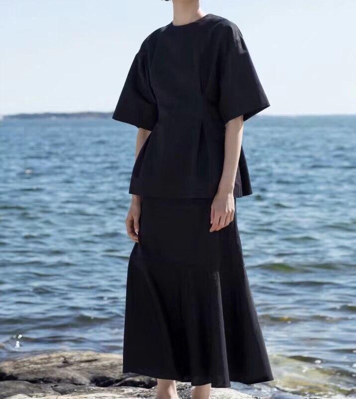 Negro Loano, de algodón, blusa de lino de corte Slim de cintura de moda de buena calidad TOP Mujer-in Blusas y camisas from Ropa de mujer    1